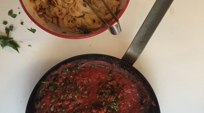 Fresh fettuccine with simple marinara from alaskaknitnat.com