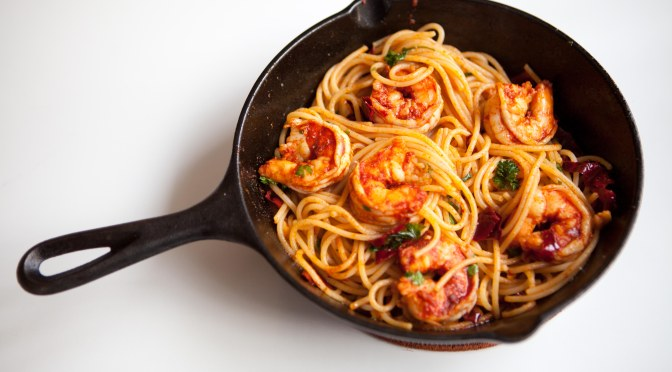 Pasta and shrimp in a paprika chili sauce