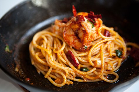 Pasta and shrimp in a paprika chili sauce | A simple dinner recipe from Alaskaknitnat.com