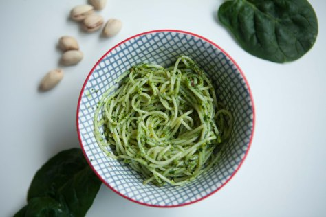 Spinach and pistachio pesto - a less expensive recipe with the same great flavor | A recipe from Alaskaknitnat.com