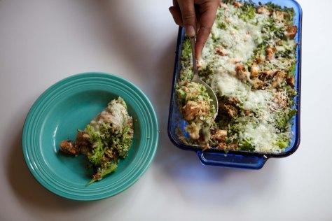 Broccoli Rice Chicken Pesto Casserole | A weeknight meal from Alaskaknitnat.com